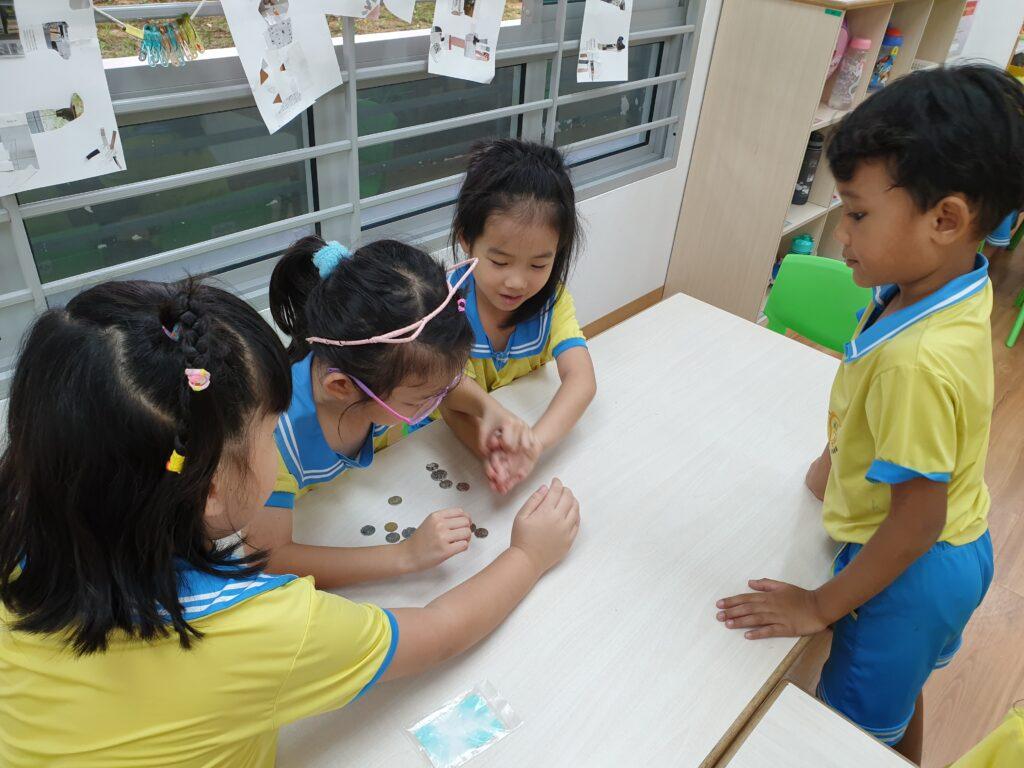 Children learning the value of money